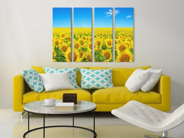 Tablou multi canvas 4 piese Camp cu floarea soarelui