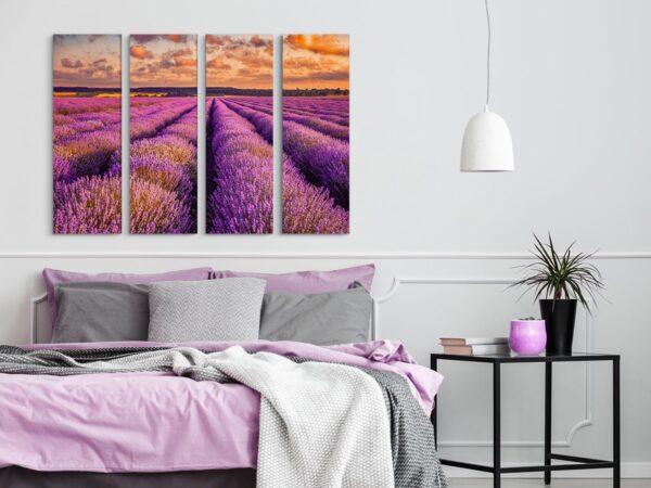 Tablou multi canvas 4 piese camp cu lavanda
