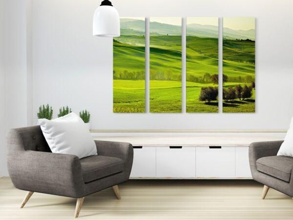 Tablou multi canvas 4 piese campie verde