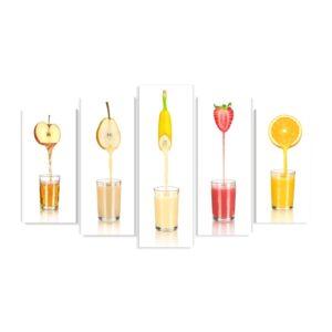 Tablou multi canvas 5 piese Fruits Juice