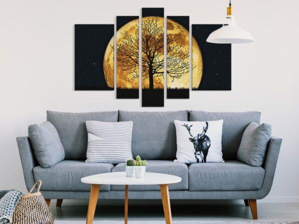 Tablou multi canvas 5 piese luna plina si copac