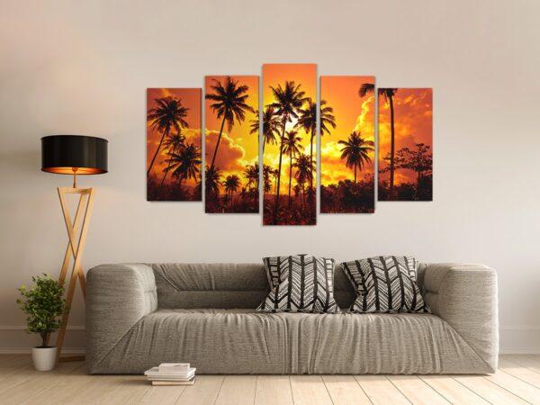 Tablou multi canvas Tropical Sunset 100 x 177 cm