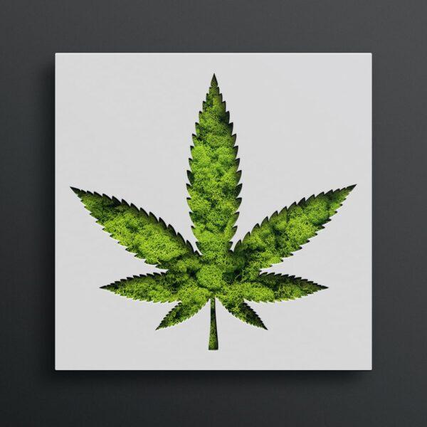 Decoratiune cu licheni Marijuana culoare alb 40x40x5cm Skinali Decor