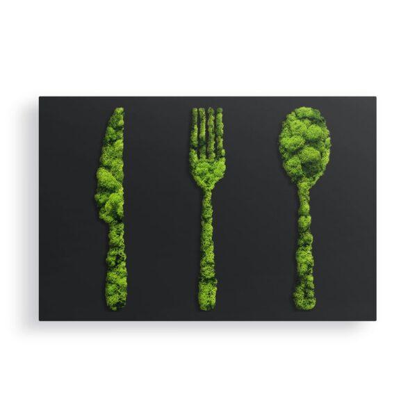 Decoratiune cu licheni furculita lingura si cutit culoare alb 60x40x5cm Skinali Decor