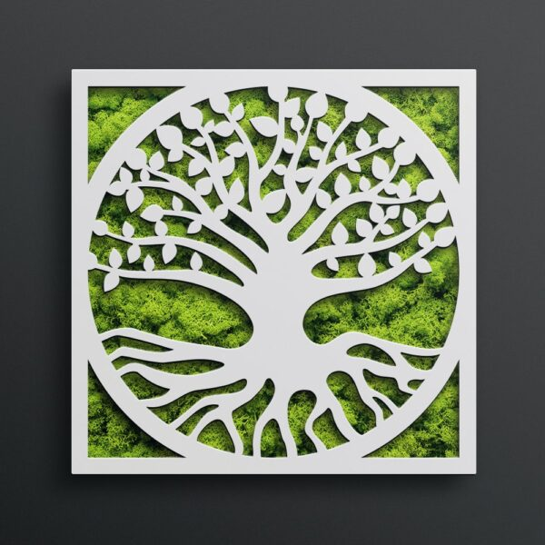 Decoratiune cu licheni model Tree of Life 03 culoare alb Skinali Decor
