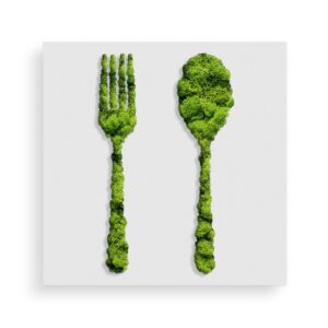 Decoratiune cu licheni model furculita si lingura 40x40cm Skinali Decor