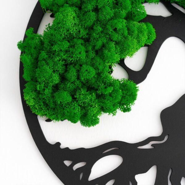 Decoratiune cu licheni Copacul vietii verde intens diverse dimensiuni - Skinali Decor ro