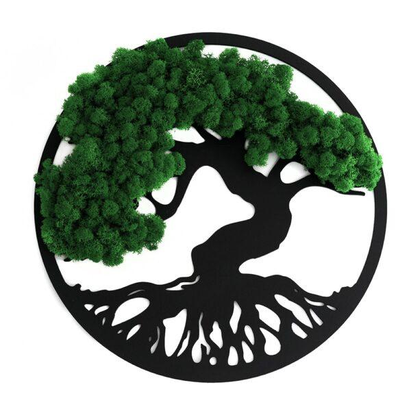 Decoratiune cu licheni Copacul vietii verde natur diverse dimensiuni - Skinali Decor ro